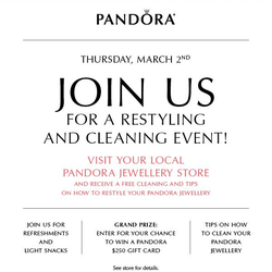 Pandora Restyling and Cleaning Event March 2nd
