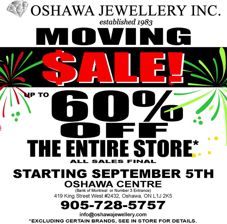 Oshawa Jewellery Moving Sale